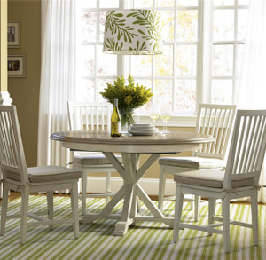 Coastal Beach White Oak Round Expandable Dining Table 54""