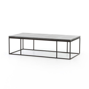 French Industrial Iron + Bluestone Top Large Coffee Table