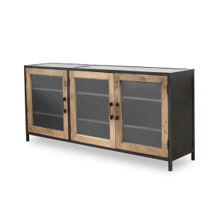 Dominic Industrial Metal and Oak Wood Media Console