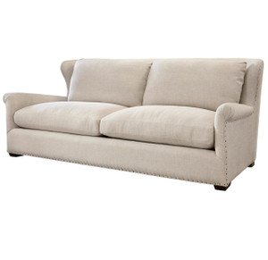 Haven Belgian Linen Upholstered Wingback Sofa