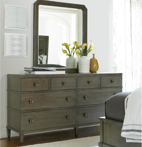 Playlist Vintage Oak 8 Drawers Dresser with Mirror