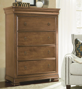 Louis Philippe Solid Wood 4 Drawers Tall Chest