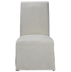Sojourn Linen Upholstered Skirted Dining Side Chair