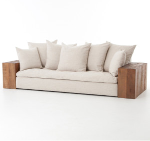 Dorset Industrial Loft Linen Sofa with Wood Arms