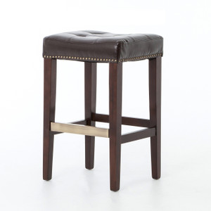 Ashford Tufted Brown Leather Counter Stool