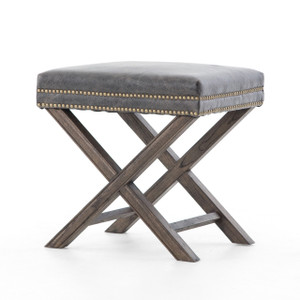 French Modern X-Base Leather Stool Ottoman