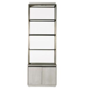 Modern Grey Oak Wood + Bronze Metal Etagere Bookcase
