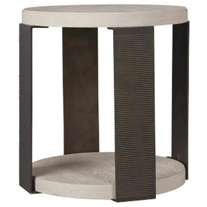 Modern Grey Oak Wood + Bronze Metal Round End Table