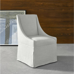 Townsend Belgian Linen Upholstered Skirted Dining Chair