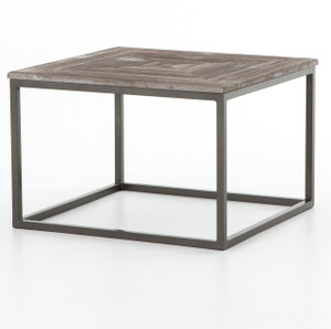 Linden Industrial Iron and Marble Top Square Coffee Table