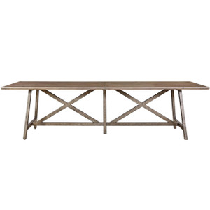 French Industrial Iron Leg + Plank Wood Dining Table 114""