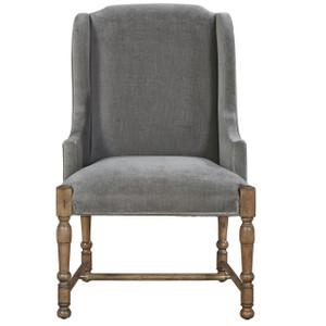 French Country Gray Velvet Upholstered Host Arm Chair