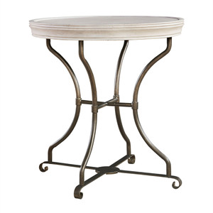 Belgian Cottage Round End Table - Antiqued White