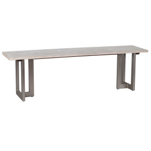 """Uptown Whitewashed Solid Wood Dining Bench 60"""""""