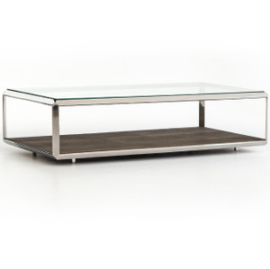 Shadow box industrial metal and glass coffee table zin home Glass box coffee table
