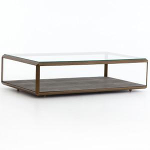 Hollywood Shagreen Shadow Box Glass Coffee Table - Brass
