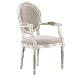 Louis Vintage White Oak Round Dining Arm Chair- Linen