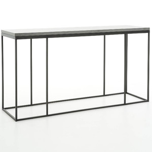 French Industrial Iron + Bluestone Top Console Table