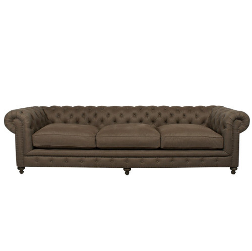 ... Chesterfield Brown Tufted Linen Upholstered Sofa 118 ...