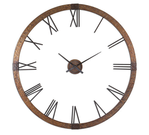 Amarion rustic metal oversized wall clock 60 zin home Oversized metal wall clocks