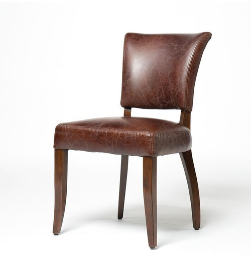 Mimi biker tan leather dining chair zin home for Leather seat dining chairs