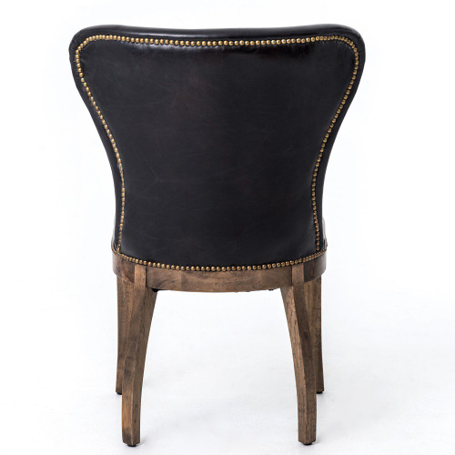 Richmond Black Leather Wingback Dining Room Chairs