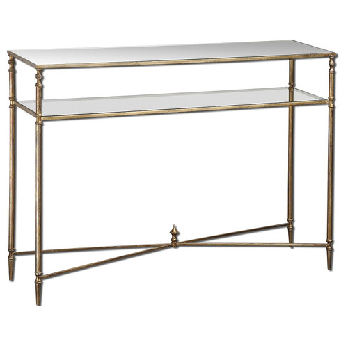 Henzler Mirrored Gold Leaf Console Table; Henzler Barstow Mirrored Console  Table ...