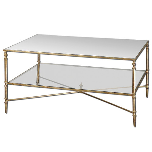 Aurelle Home Amanda Glass Top Rectangle Coffee Table: Henzler Mirrored Gold Leaf Coffee Table