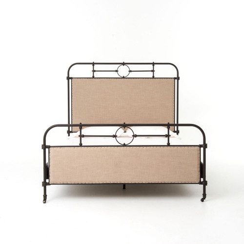 Swan Modern Platform Bed: 18th Century French Campaign Metal Queen Bed