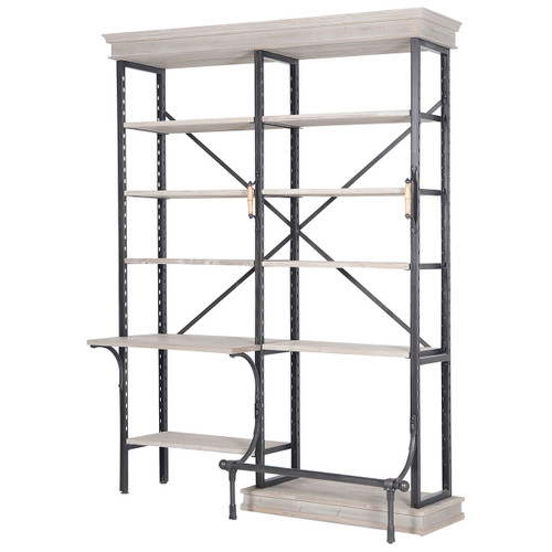 French Library Bookcase with Desk