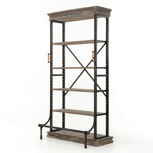 French Library Grey Wood + Metal Single Bookcase