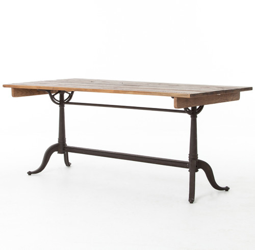 Reclaimed Pine and Cast Iron Dining Table
