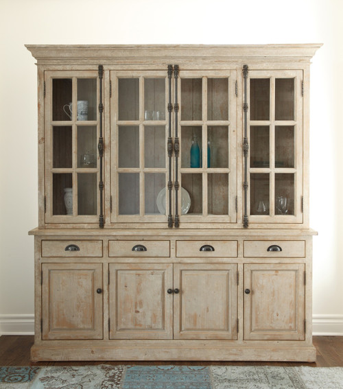 Chateau Reclaimed Wood Hutch Cabinet Antique White Zin Home