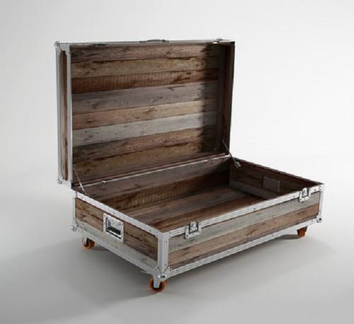 Teak Storage Coffee Table: Industrial Reclaimed Teak Wood Large Trunk Coffee Table