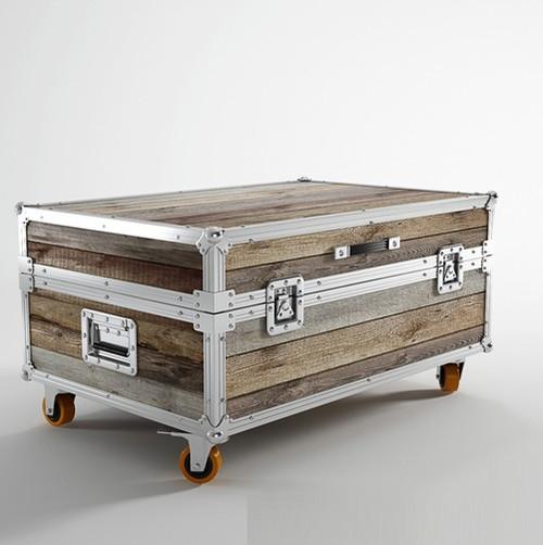 Industrial loft reclaimed teak small trunk coffee table for Small industrial coffee table