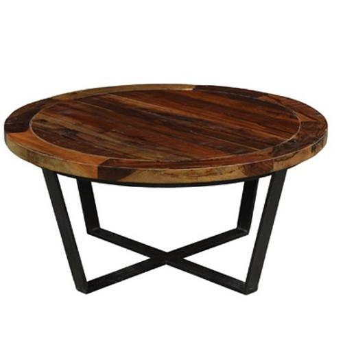 Charming Loft Geometric Metal Base Round Wooden Coffee Table