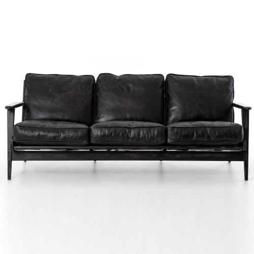 Mid Century Modern Brooks Leather Sofa