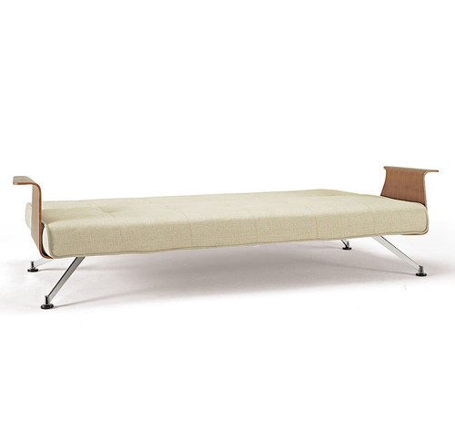 Modern clubber convertible sofa bed with wood arms zin home for Sofa bed no arms