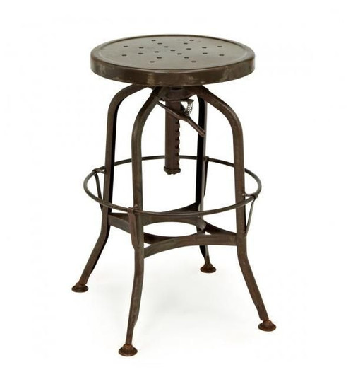 Toledo Rustic Adjustable Industrial Bar Stool Zin Home