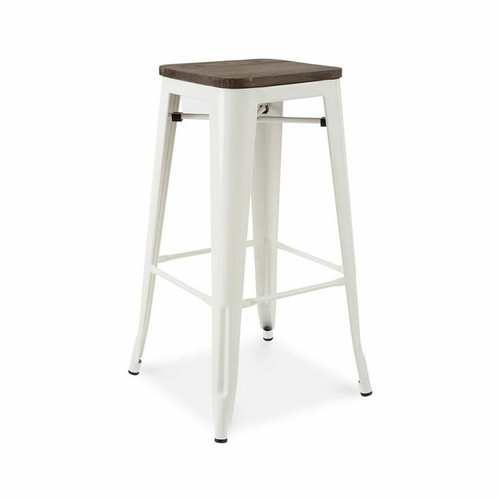 Vintage industrial bar stools with wood top