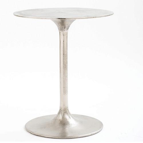 Marlow Tulip Side Table-Raw Nickel