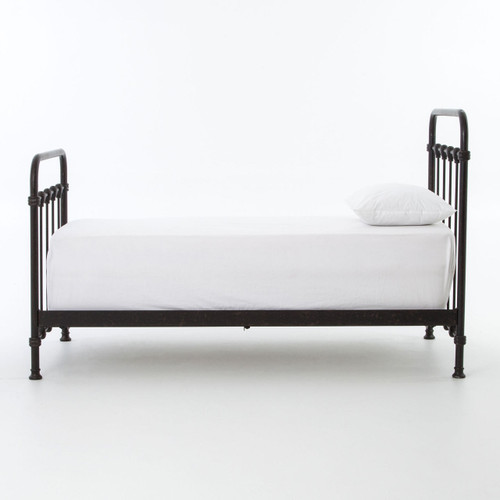kingsley vintage black metal twin bed frame