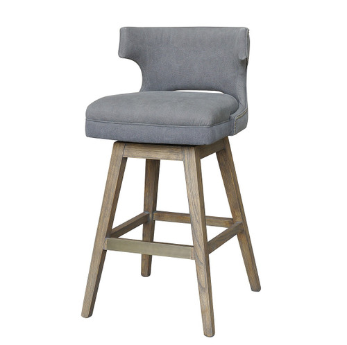 Task Dark Gray Upholstered Nailhead Wing Counter Stool
