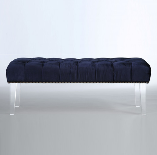 Stella Navy Velvet Upholstered Acrylic Bed End Bench Zin