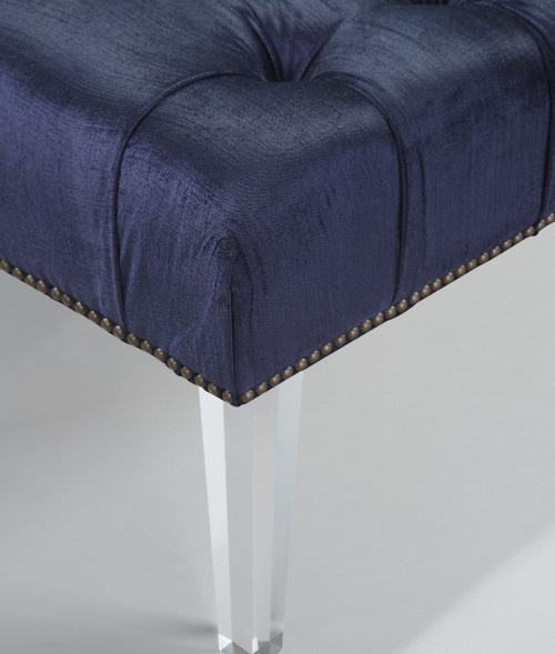 Techstyle Patchwork Upholstered Bedroom Bench Reviews: Stella Navy Velvet Upholstered Acrylic Bed End Bench