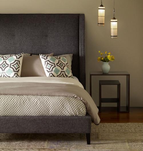 Metropolitan Charcoal Wingback Upholstered King Bed Frame