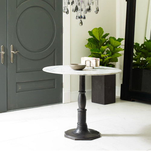 French Industrial White Marble Top Round Bistro Table