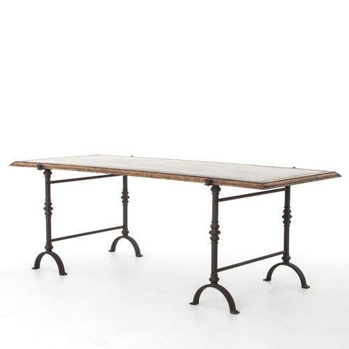 Galvanized Iron Rustic Oak Foundry Dining Table 87