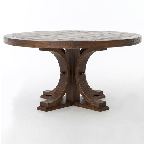 60 round wood dining table lugo reclaimed wood 60 pedestal dining table zin home 7374
