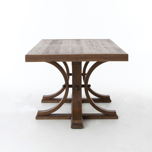 Shop Priage By Zinus Farmhouse Wood Dining Table: Lugo Farmhouse Trestle Double Pedestal Dining Table 87